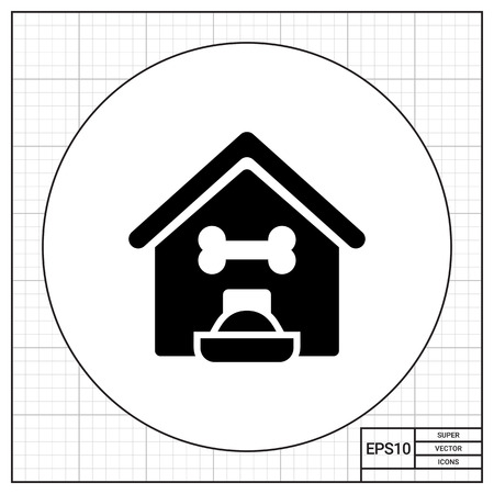 filled: Vector icon of kennel and filled dog bowl Illustration