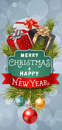 Merry Christmas and Happy New Year lettering on figured frame. Christmas greeting card with gifts and baubles. Typed text. For greeting cards, posters, leaflets and brochures.
