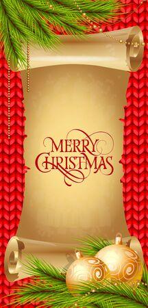 스크롤에 메리 크리스마스 글자. 싸구려와 전나무 트리 나뭇 가지 크리스마스 인사말 카드입니다. 입력 된 텍스트. 인사말 카드, 포스터, 전단지 및 팜플렛.
