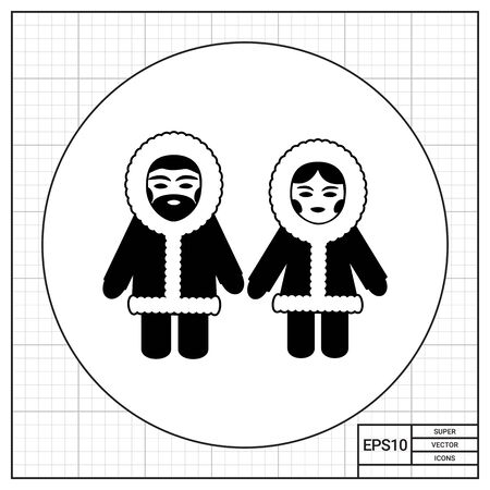fur hood: Vector icon of Eskimo man and woman wearing fur coat with hood Stock Photo