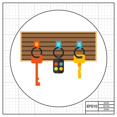 fob: Multicolored vector icon of keys and alarm keychain hanging on board Stock Photo