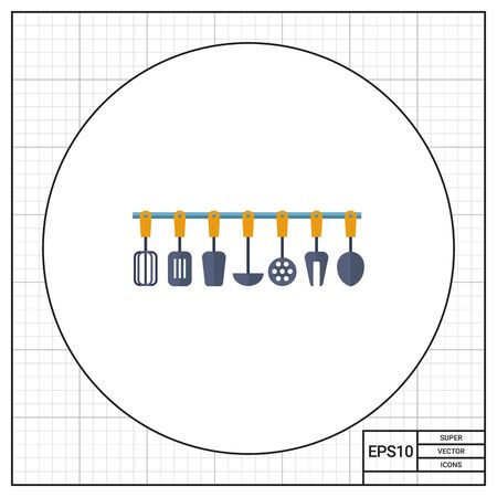 heatproof: Multicolored vector icon of kitchen tools set Stock Photo