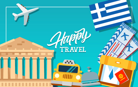 Happy travel frame with Greece flag, tickets, Parthenon, luggage and reception bell. Design element for greeting cards, postcards, invitations, ads, covers, notes.