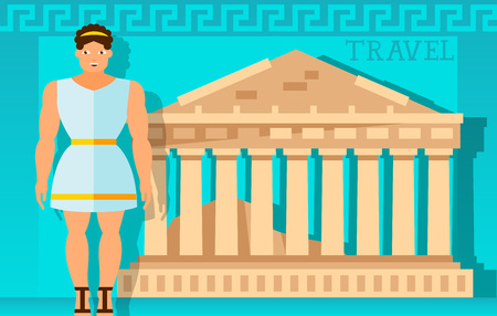 Travel frame with Parthenon and Greek. Design element for greeting cards, postcards, invitations, ads, covers, notes. Illustration