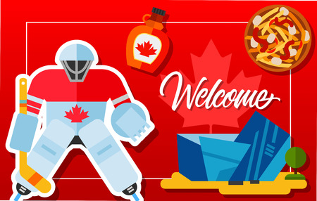 Welcome frame with Canadian hockey player, maple syrup, Michael Lee-Chin Crystal and poutine. Design element for greeting cards, postcards, invitations, ads, covers, notes. Illustration