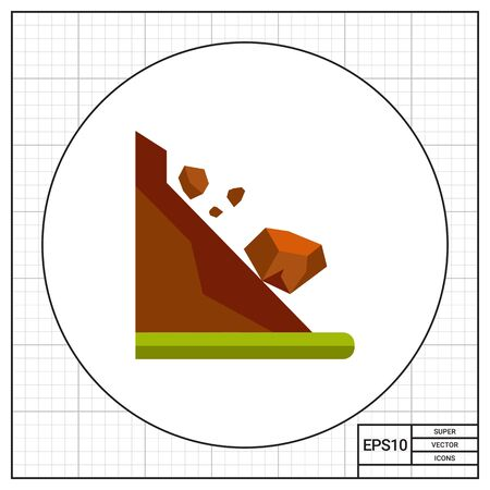 slope: Stones rolling down slope. Danger, mountain, foot. Landslide concept. Can be used for topics like geology, geography, business.