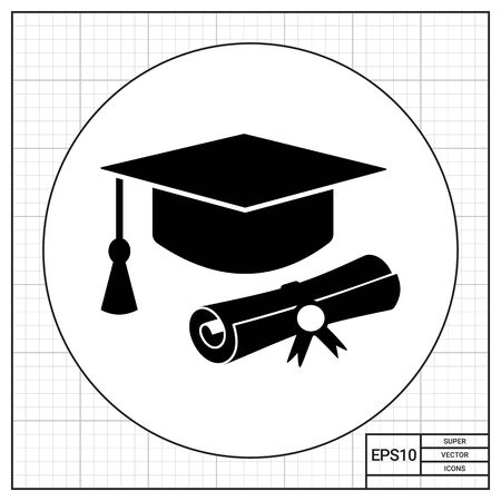 master degree: Diploma roll and graduate hat with tassel. Study, degree, knowledge. Education concept. Can be used for topics like education, teaching, training. Illustration