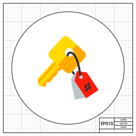 keyword research: Illustration of key with tag. Keywording, copywriting, research. Keywording concept. Can be used for topics like marketing, copywriting, Internet