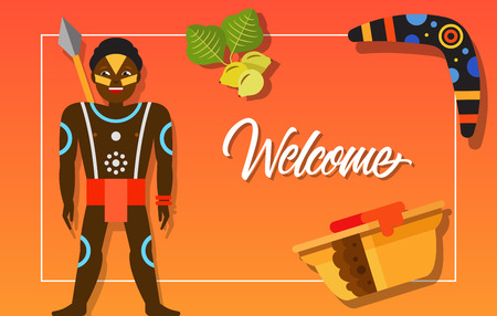 Welcome frame with aborigine, boomerang and exotic fruit. Design element for greeting cards, postcards, invitations, ads, covers, notes. Illustration