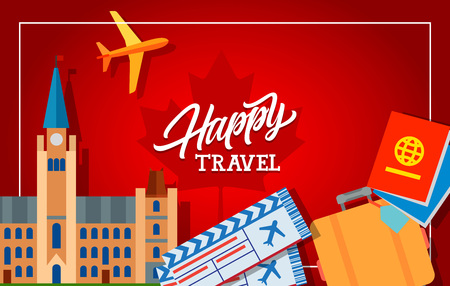 plain postcards: Happy travel lettering with foreign passports, tickets, suitcase, plain and Canadian Parliament Buildings. Design element for greeting cards, postcards, invitations, ads, covers, notes.