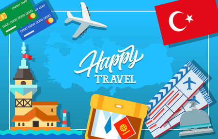 maiden: Happy travel lettering. Tickets, credit cards, flag of Turkey, suitcase with shirt and passport, plane, bell, Maiden Tower of Istanbul. Handwritten text, calligraphy for posters, leaflets and banner Illustration