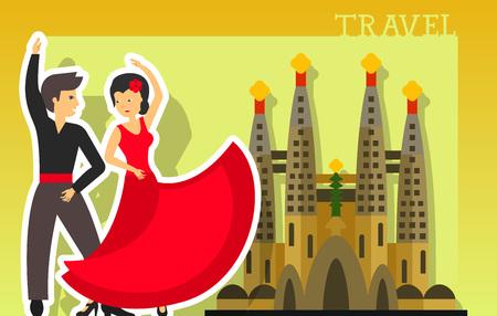 bailando flamenco: letras de viajes. Pareja de baile flamenco cerca de la iglesia Sagrada Familia. texto escrito a mano, caligrafía para tarjetas de felicitación, carteles, folletos y la bandera Vectores