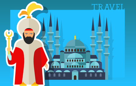 Travel lettering. History, heritage, sultan, Sultanahmet Mosque. Handwritten text, calligraphy for greeting cards, posters, leaflets and banner