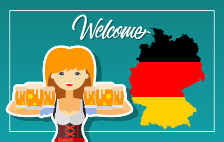 Welcome lettering. Oktoberfest greeting card with German map, flag and girl with beer. Handwritten text, calligraphy. Can be used for greeting cards, posters, leaflets and brochure Vettoriali