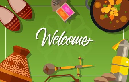 Welcome lettering. Touristic greeting card with Moroccan shoes, glass lantern, harira soup, rebab, tajine, argan oil. Handwritten text. Can be used for greeting cards, posters, leaflets and brochure