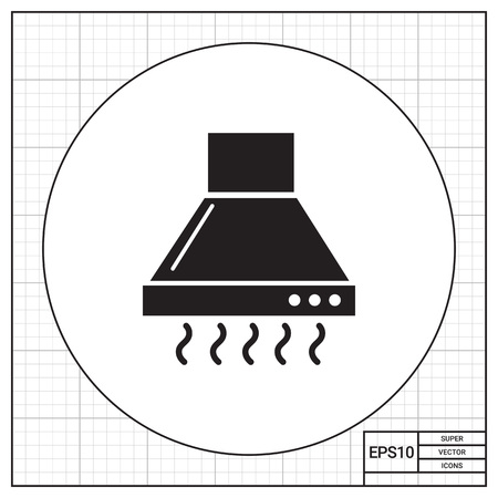 steam cooker: Vector icon of operating kitchen hood silhouette