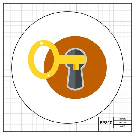 Key inserted into keyhole. Protection, locking, property. Key concept. Can be used for topics like finance, banking, business. Stock Photo