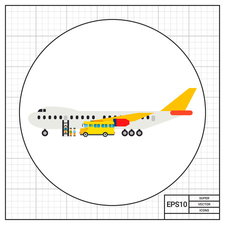 off ramp: Illustration of airplane and passengers getting on board. Shuttle bus, getting on board, airport. Getting on board concept. Can be used for topics like airport, travelling, transport