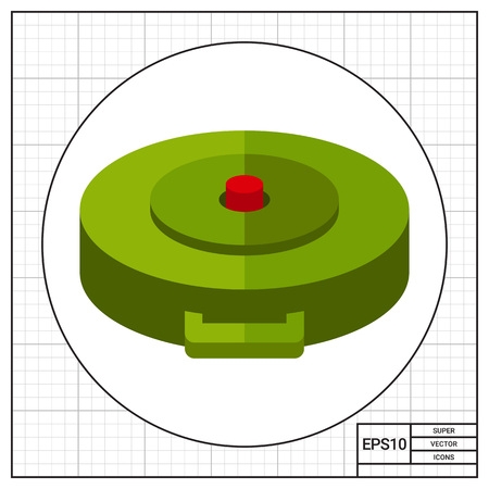 be mine: Land mine. Explosion, danger, hidden. Bomb concept. Can be used for topics like war, weapon, technology. Illustration