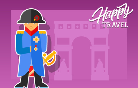 bonaparte: Happy travel lettering. Touristic greeting card with Triumphal Arch and Napoleon Bonaparte on purple background. Handwritten text. Can be used for greeting cards, posters, leaflets and brochure Illustration