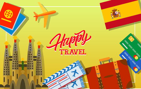 sagrada familia: Happy travel lettering. Spanish flag, flight tickets, credit cards, luggage, Pasports, flying plane. Sagrada Familia. Handwritten text, calligraphy for greeting cards, posters, leaflets and banner