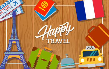 bell tower: Happy travel lettering. Touristic greeting card with French flag, Eiffel Tower, taxi, suitcases, passport, tickets, hotel bell. Handwritten text. Can be used for greeting cards, posters, leaflets Illustration