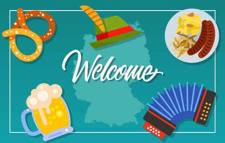 Welcome lettering touristic greeting card with german map pretzel touristic greeting card with german map pretzel beer tirol hat accordion sausages and sauerkraut handwritten text can be used for greeting cards m4hsunfo