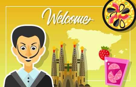 sangria: Welcome lettering. Outline of Spain, paella, sangria drink, Sagrada Familia church, Salvador Dali portrait. Handwritten text, calligraphy for greeting cards, posters, leaflets and banner Illustration