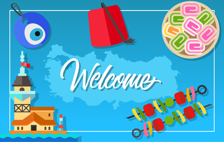 maiden: Welcome lettering. Rahat lokum, fez hat, adana kebabs, nazar amulet, Maiden Tower of Istanbul. Outline of Turkey. Handwritten text, calligraphy for greeting cards, posters, leaflets and banner