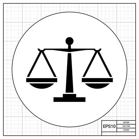 jurisprudencia: balanzas. Juicio, la igualdad, con un peso. Concepto de Justicia. Puede ser utilizado para temas como la jurisprudencia, la criminalidad, negocios.