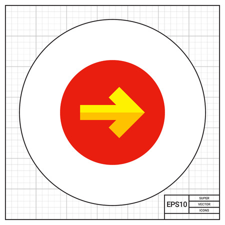 arrowhead: Illustration of yellow arrow pointing to right on circle background. Arrow and circle, direction, pointer. Direction concept. Can be used for topics like direction, signs, Internet Illustration