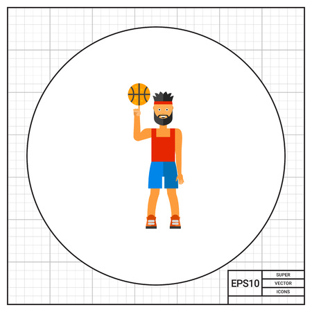 cartoon adult: Illustration of basketball player spinning ball. Basketball game, sportsman, sport. Basketball game concept. Can be used for topics like sport, leisure activity