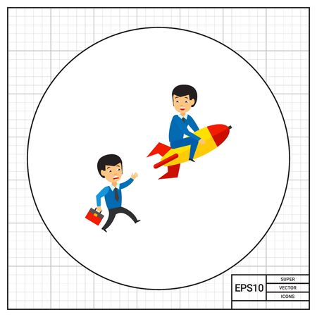 pursuing: Businessman on rocket and another businessman pursuing him. Project, leader, idea. Business competition concept. Can be used for topics like business, technology, marketing. Illustration