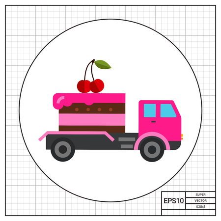 delivered: Cake delivered by truck. Sweet, party, fast. Food delivery concept. Can be used for topics like cooking, confectionery, food, transport.