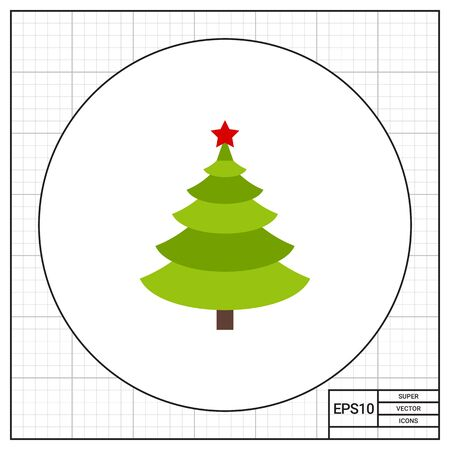 new plant: Fir tree with star. New Year, plant, decoration. Christmas tree concept. Can be used for topics like nature, Christmas, New Year.