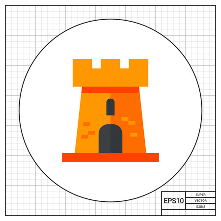 chateau: Illustration of castle tower. Building, architecture, residence, fortress. Architecture concept. Can be used for topics like construction, building, architecture