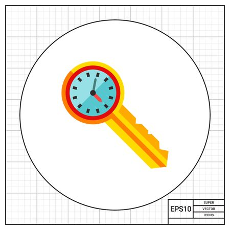 punctuality: Clock on key. Secure, punctuality, access. Time management concept. Can be used for topics like management, planning, business. Illustration