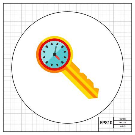 puntualidad: Reloj en la llave. Seguro, la puntualidad, el acceso. Concepto de gestión del tiempo. Puede ser utilizado para temas como la gestión, planificación, negocios. Vectores