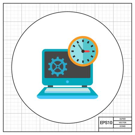 puntualidad: Reloj delante del ordenador portátil. Fecha límite, la puntualidad, la eficiencia. Concepto de gestión del tiempo. Puede ser utilizado para temas como la gestión, la planificación, la tecnología, los negocios. Vectores