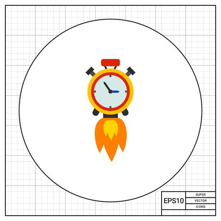 punctuality: Clock rocket. Fast, punctuality, efficiency. Time management concept. Can be used for topics like management, planning, business.
