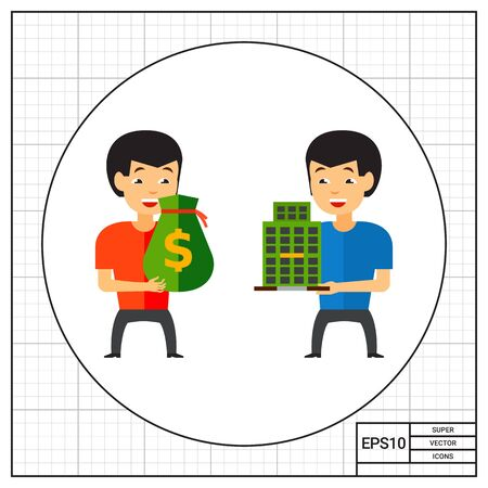 takeover: Two men holding money bag and building. Company, takeover, selling. Buying company concept. Can be used for topics like building, business, finance.