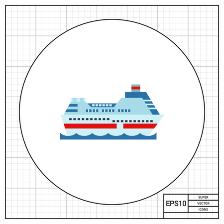 shipbuilding: Cruise ship. Ocean, passengers, luxury. Ship concept. Can be used for topics like technology, shipbuilding, tourism. Illustration