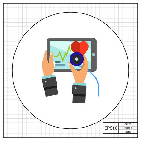 doctor tablet: Hands with stethoscope and tablet screen with heart. Diagnosis, care, gadget. Doctor concept. Can be used for topics like medicine, technology, cardiology, health, healthcare. Illustration
