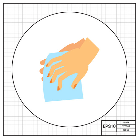be wet: Hands drying with cloth. Clean, wet, habit. Washing hands concept. Can be used for topics like hygiene, health, healthcare. Illustration