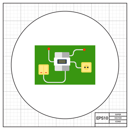 electricity meter: Light switch and socket connected to electric meter. Interior, energy, house. Electrical household supplies concept. Can be used for topics like electricity, electronics, technology.