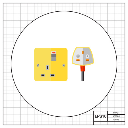 electrical safety: Electrical outlet and plug in UK. Safety, energy, house. Power supply concept. Can be used for topics like electricity, electronics, technology.