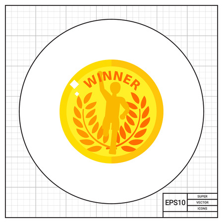 medal like: Illustration of gold badge with running winner. Golden medal, prize, award, success. Award concept. Can be used for topics like awards, success, competition