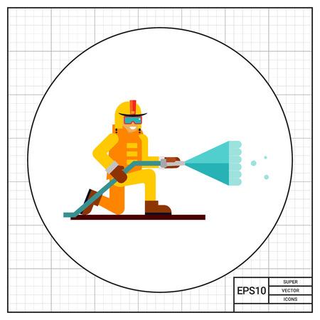 extinguishing: Multicolored vector icon of firefighter extinguishing fire Illustration