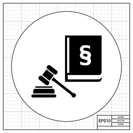 jurisprudencia: Martillo y el código de las leyes con el signo de párrafo. concepto corte. Puede ser utilizado para temas como la jurisprudencia, la criminalidad, negocios. Vectores