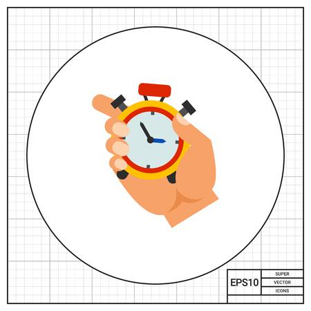 puntualidad: Mano que sostiene el cronómetro. Cuenta atrás, la puntualidad, la eficiencia. Concepto de gestión del tiempo. Puede ser utilizado para temas como la gestión, la planificación, el deporte, negocios.